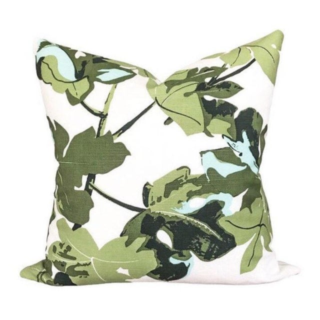 Coastal Peter Dunham Fig Leaf Outdoor Pillow Cover, White For Sale - Image 3 of 3