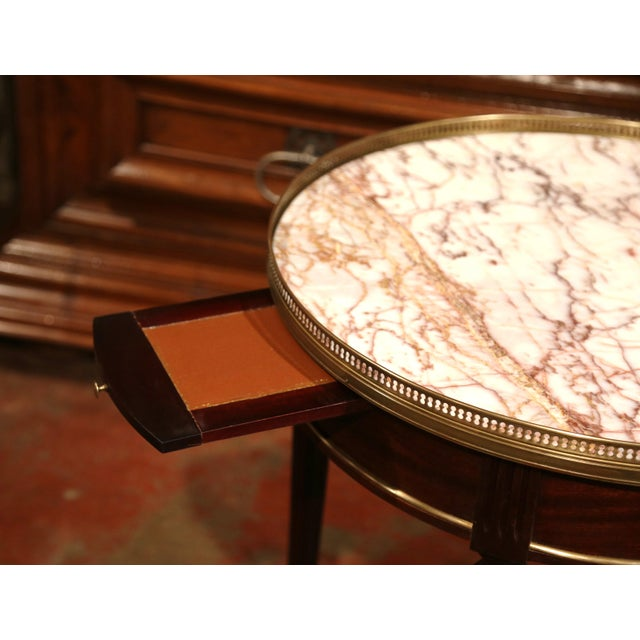 Early 20th Century French Louis XVI Round Bouillotte Table with Marble Top - Image 7 of 10