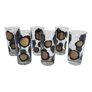 Vintage Coins of the World High Ball Glasses - Set of 6