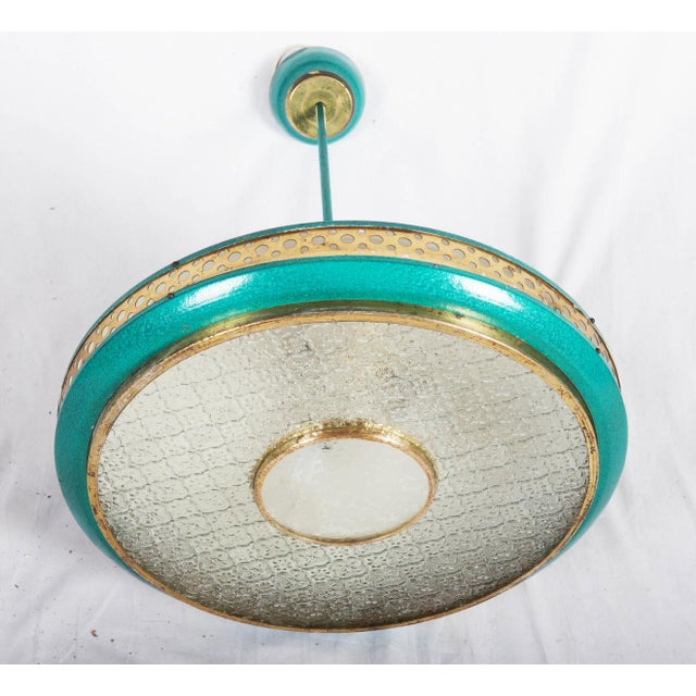1960s Mid-Century Brass & Steel Pendant Lamp, 1960s For Sale - Image 5 of 10
