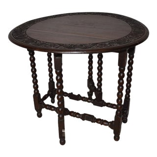 English Carved Top Gateleg Table For Sale