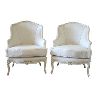 20th Century Louis XV Style Linen Upholstered Bergere Chairs - a Pair For Sale