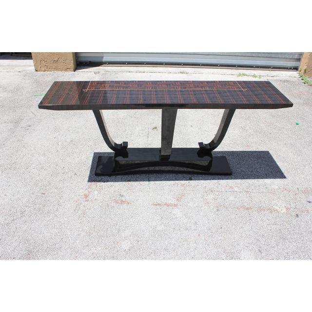 Ebony French Art Deco Macassar Ebony / Black Lacquer Base Console Table, circa 1940s For Sale - Image 7 of 9