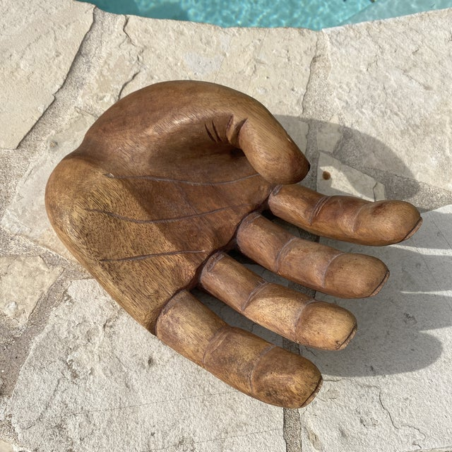 1960s Mid Century Wooden Human Hand Sculpture For Sale In Austin - Image 6 of 12