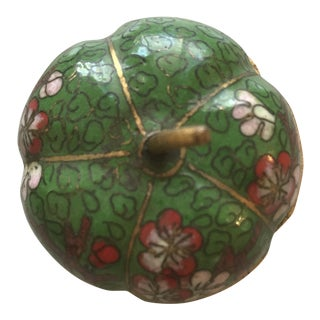 Green Tomato-Shaped Cloisonné Pill Box For Sale