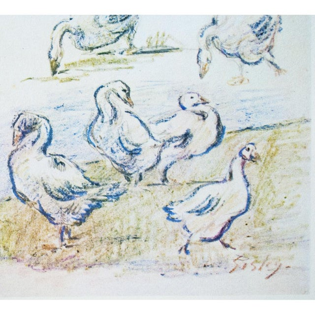 Lithograph Cottage Style Hungarian Geese Lithograph by Alfred Sisley, 1959 For Sale - Image 7 of 11