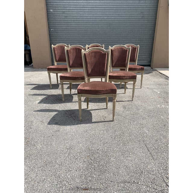 1910s Vintage French Louis XVl Solid Mahogany Dining Chairs - Set of 6 For Sale - Image 4 of 13