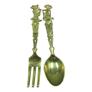 Vintage Brass Decorative Servers Fork and Spoon For Sale