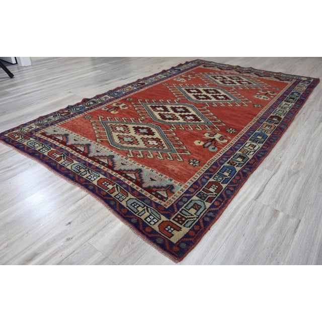 Vintage Oushak Wool Hand Knotted Rug - 4′6″ × 8′1″ - Image 9 of 11