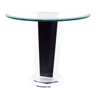 Mid Century Black Lucite and Glass Round Side End Table For Sale