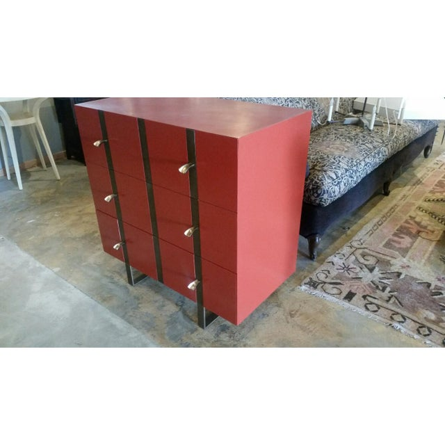 Metal Paul Marra 3-Drawer Banded Chest For Sale - Image 7 of 7