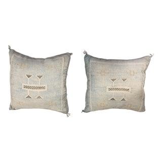 1970s Boho Chic Blue Cactus Silk Pillows - a Pair For Sale