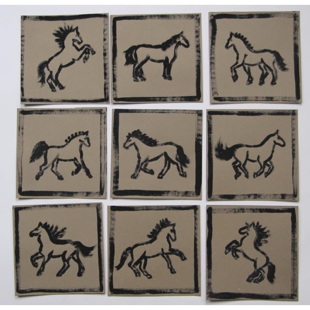 Nine abstract minimalist horse paintings in black on tan backgrounds. Painted with a dry brush technique and signed on the...