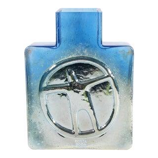 Bertil Vallien Kosta Boda Swedish Blue Glass Square Bottle Vase For Sale