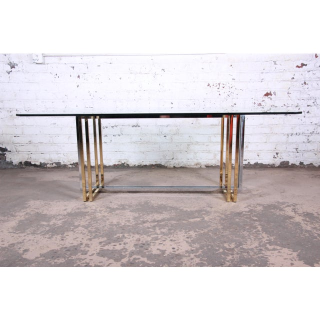 Romeo Rega Hollywood Regency Dining Table in Brass, Chrome, and Glass For Sale - Image 4 of 8