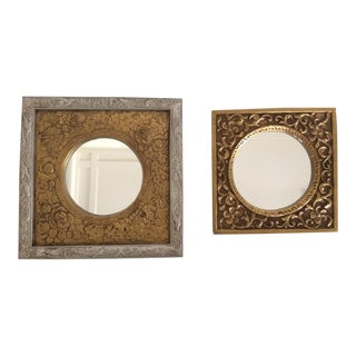 Gold & Silver Decorative Square Wall Mirrors - a Pair For Sale