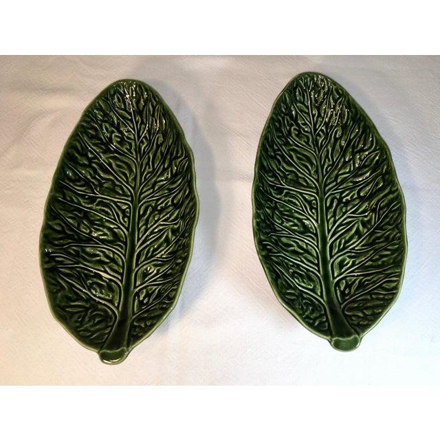 Green Vintage Majolica Cabbage Leaf Serving Bowls - a Pair For Sale - Image 8 of 8