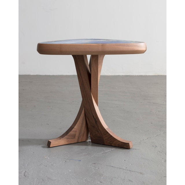 """""""Lewis"""" stool with handmade walnut frame and handmade ceramic detail. Designed and made by Pierre Yovanovitch, France, 2018."""