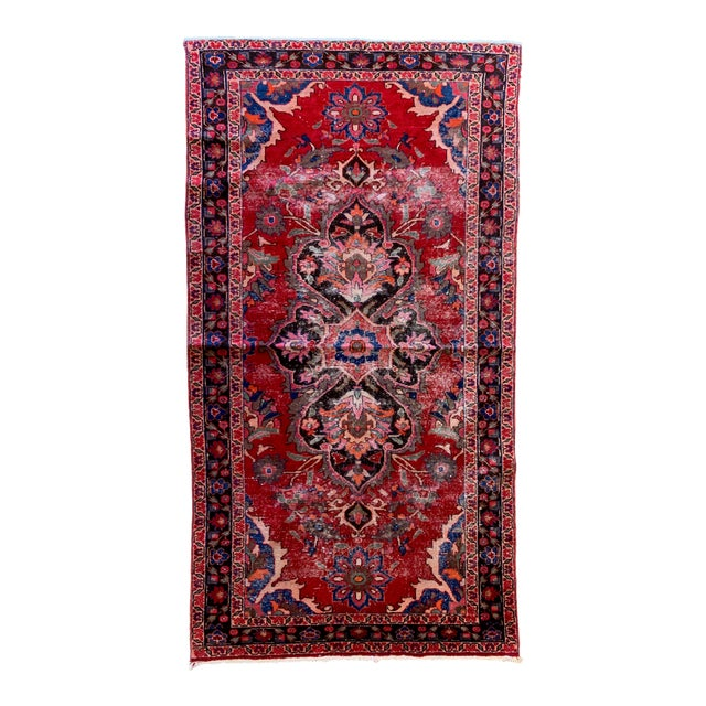 "Rich Tones Vintage Persian Area Rug - 9' 8.5"" X 5' For Sale"