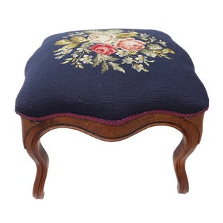 Vintage English Queen Anne Floral Needlepoint Ottoman Foot Stool With Wooden Legs