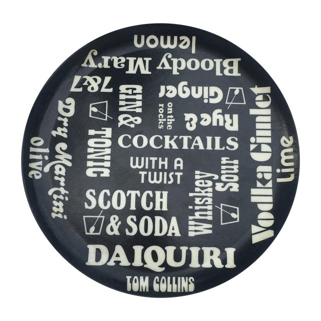 Vintage Black and White Cocktail Themed Tray - Image 1 of 5
