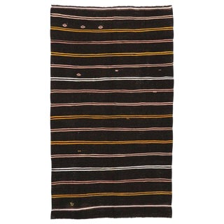 "Vintage Turkish Tribal Striped Kilim Rug - 7'2"" X 12'2"" For Sale"