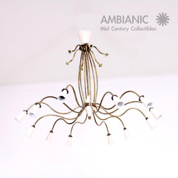 1940s Mid-Century Modern 12 Arm Chandelier For Sale - Image 5 of 9