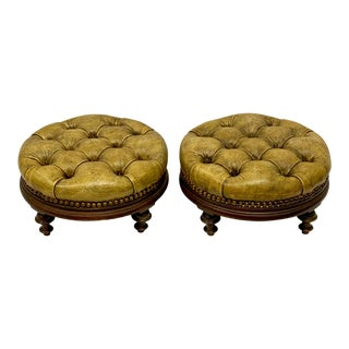 Early English Leather Chesterfield Ottomans-A Pair For Sale