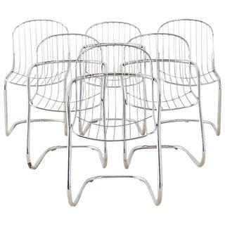 Set of Six Italian Gastone Rinaldi Chrome Cantilever Chairs For Sale