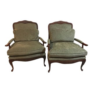 Oversized Louis XV Style Fauteuils or Lounge Chairs by Lexington - A Pair For Sale