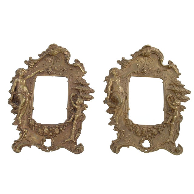 Gold 1970s Bronze Frames With Angel Motifs - Pair For Sale - Image 8 of 8