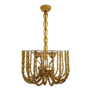 Large Kaki Beige Murano Glass Chandelier, Mid Century Modern, Venini Style 1960s For Sale