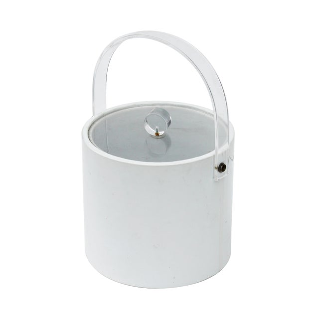 White & Lucite Lidded Ice Bucket For Sale - Image 4 of 4