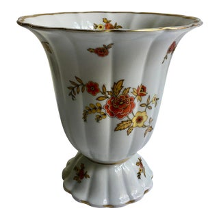1930 Thomas Bavaria Scalloped Foral Petal Vase For Sale