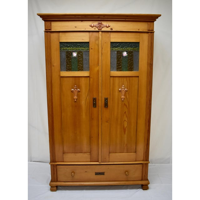 Pine Two Door Armoire With Art Glass Panels For Sale - Image 13 of 13