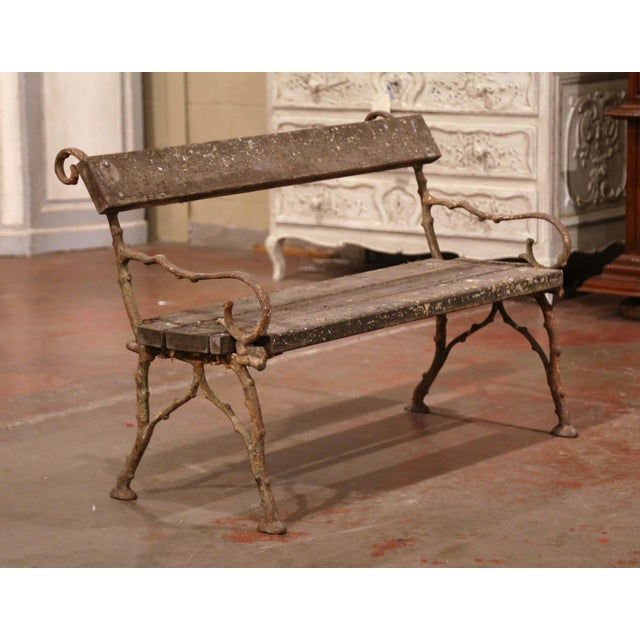 Metal 19th Century French Weathered Iron and Wood Outdoor Garden Bench For Sale - Image 7 of 9