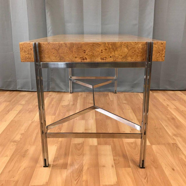 Notable Jack Freidin for Pace Burl Wood and Chrome Desk - Image 4 of 11