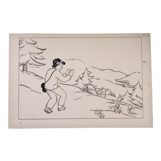 """Vintage Pen & Ink Drawing From """"Heidi"""" For Sale"""