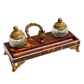 Small Ink Well in Tortoise Shell and Gilt Bronze Mounts For Sale