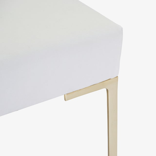 Not Yet Made - Made To Order Astor Petite Brass Ottomans in Snow Velvet by Montage - Pair For Sale - Image 5 of 7