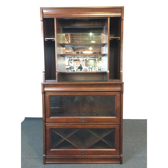 Pottery Barn Laminate Walnut Glass Mirrored Lawyer Bar Hutch Chairish