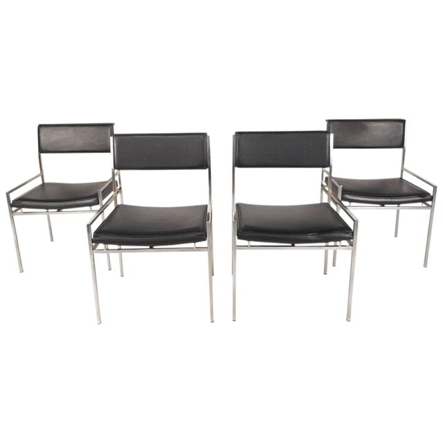 Mid-Century Modern Chrome & Vinyl Dining Chairs - Set of 4 For Sale