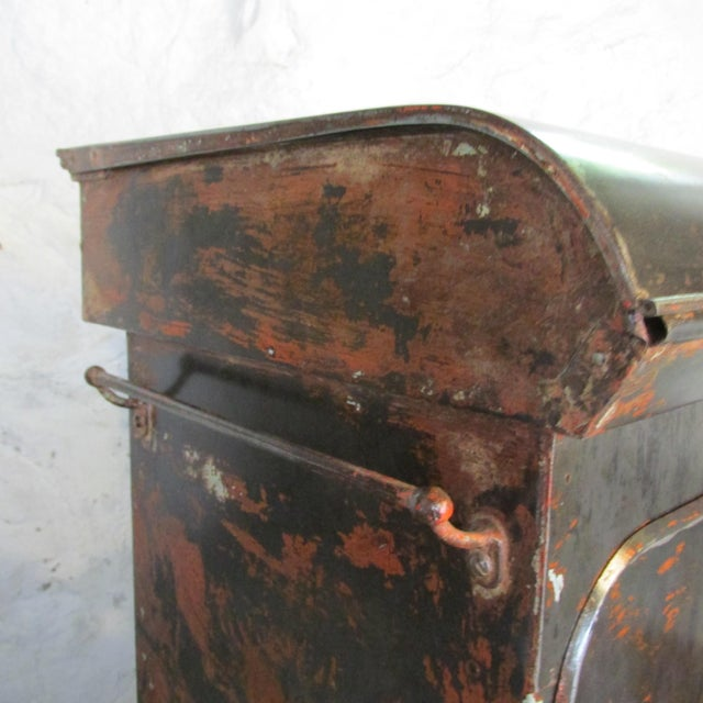 Antique Riveted Steel Campaign Style Vanity and Wash Basin For Sale - Image 11 of 13