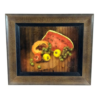 Framed Oil on Wood Still Life Watermelon & Papaya Signed Storm For Sale