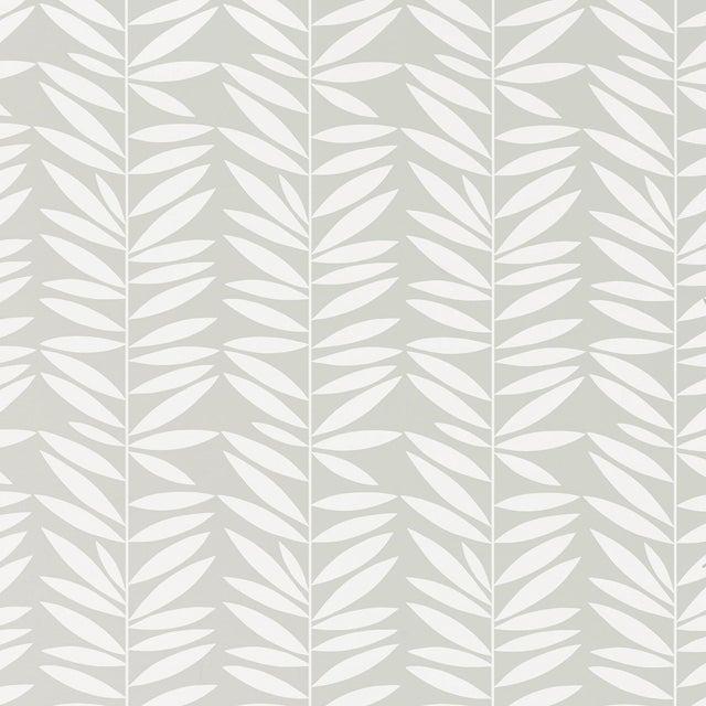 Schumacher Leaf Stripe Wallpaper in Mist For Sale