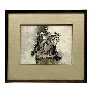 Framed Equestrian Ink Drawing