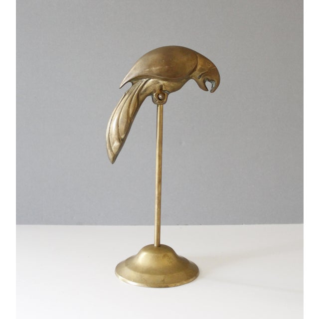 Vintage Brass Parrot on Perch Figurine Mid Century For Sale - Image 5 of 8