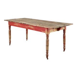 American Country Red Painted Pine Farmhouse Dining Table For Sale