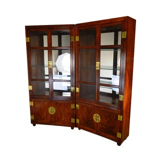 Henredon Vintage Asian Inspired Mahogany Pair Tall Curio Display Cabinets For Sale