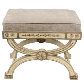 Curule-Form Painted Tabouret For Sale